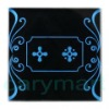 2 Gang Blue Crystal Glass Panel Flower Design Touch Wall Light Switch