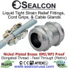 Elongated EMI/RFI Proof Nickel Plated Brass Feed Through Cable Glands for use in Hazardous Locations