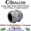 Elongated Nickel Plated Brass Cable Glands for use in Hazardous Locations