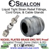 Elongated Thread EMI/RFI Proof Nickel Plated Brass Strain Relief Fittings for use in Hazardous Locations