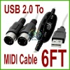 For Computer USB to MIDI Interface Adapter Cable Cord