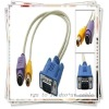 High Quality White VGA to audio/video AV cable VGA to S-Video AV RCA TV Out Converter Adapter Cable