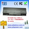 Laptop battery 11.1V 7800MAH for dell D1520