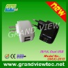 Mobile Phone Used, 5V/1A, 100-250V Input Home Charger, 2 USB Charger