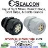 Multi-Hole Strain Relief for use in Hazardous Locations in Black & Gray Nylon