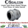 Nickel Plated Brass Strain Relief Fittings for use in Hazardous Locations