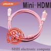 PVC moulding type mini hdmi to HDMI cables supportting 3D TV