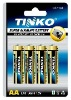 TINKO SUPER ALKALINE BATTERY SIZE AA 4pcs/card