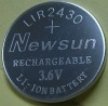 rechargeable battery, lithium coin cell, LIR2430, 3.6v, 65mAh
